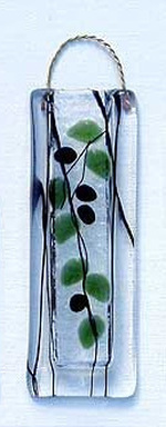 Fused Glass Olive Branch Vase