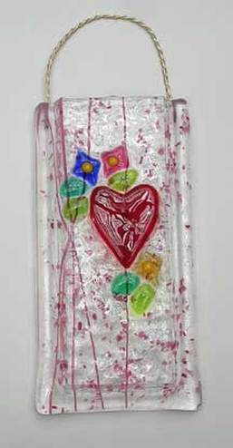 Latta's Fused Glass Victorian Heart Vase