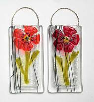 fused glass poppies vase