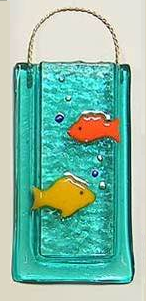 Fused Glass Fish Vase