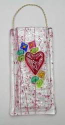 fused glass victorian Heart vase
