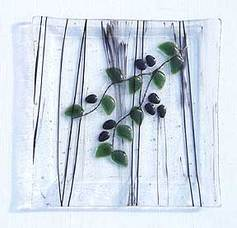 olive branch fused glass plate