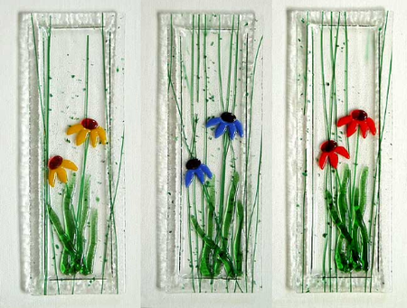 daisy fused glass sushi plate