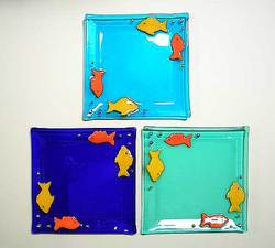 fish fused glass plate