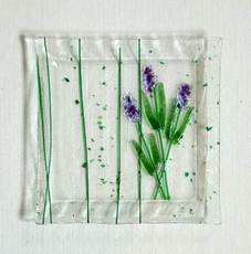 lavender fused glass plate