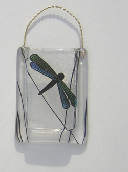 Fused Glass Dragonfly Vase