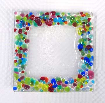 confetti fused glass jewelry dish