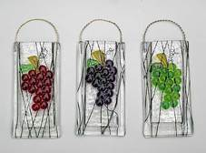 fused glass grapes vase